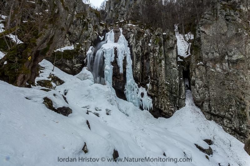 frozen Boyana waterfall