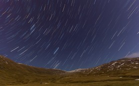 Star trail at Ivan Vazov chalet in Rila mountains