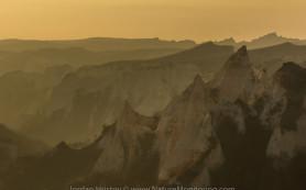 Backlight sand pyramids near Melnik